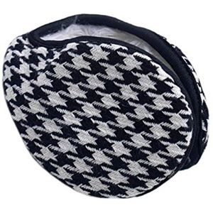 Accessories - Houndstooth Collapsable Ear Warmers Faux Fur Lined